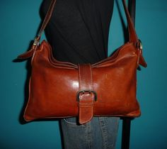 Vintage Whiskey Brown Leather Satchel Shoulder Bag Slouch Tote Purse Bag ITALY #Italian #SatchelTote