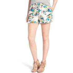 Willow & Clay Print Ruffle Hem Short (59 CAD) ❤ liked on Polyvore featuring