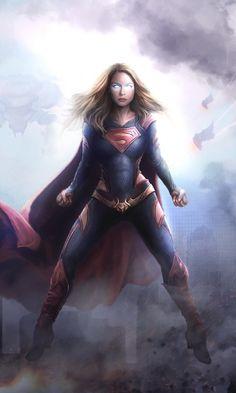 FanArt of Melissa Benoist as Supergirl with my redesign. Heros Comics, Dc Comics Characters, Dc Comics Art, Dc Heroes, Marvel Dc Comics, Marvel Girls, Comics Girls, Supergirl Superman, Batgirl