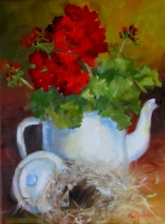 Still Life Original Oil Painting Birds Nest Red Geraniums 9x12 Canvas Painting by Cheri Wollenberg❤❤❤