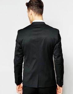 d6e21f3aecf ASOS Skinny Tuxedo Suit Jacket in Black - Black Tuxedo Suit
