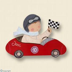 Silueta de madera personalizada: Niño piloto de carreras (ref. 12096-01)