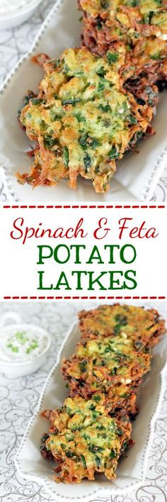 Spinach, Feta & Potato Latkes (Spanolatkes) #latkes #potatoes #sides