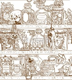 InkShuffle | Seamless background shelves with Halloween witch paraphernalia