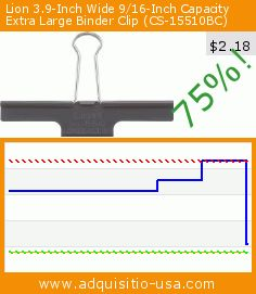 Lion 3.9-Inch Wide 9/16-Inch Capacity Extra Large Binder Clip (CS-15510BC) (Office Product). Drop 75%! Current price $2.18, the previous price was $8.62. http://www.amazon.com/Lion-3-9-Inch-16-Inch-Capacity-CS-15510BC/dp/B00HXLQZNA%3FSubscriptionId%3DAKIAIBN3PZRLBLSO7XQA%26tag%3Diuus-20%26linkCode%3Dxm2%26camp%3D2025%26creative%3D165953%26creativeASIN%3DB00HXLQZNA