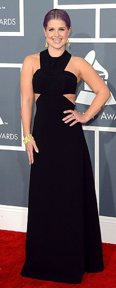 Kelly Osbourne paired a black sleeveless Paule Ka dress with H. Stern jewelry and Brian Atwood heels at the 2013 Grammys