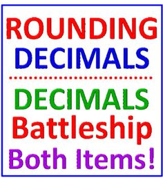 DECIMALS BATTLESHIP PLUS ROUNDING DECIMALS REINFORCEMENT (BOTH ITEMS) * You receive TWO ITEMS in this set, one for comparing decimals and one for rounding decimals. * * DECIMALS BATTLESHIP (COMPARING DECIMALS) * Rounding Decimals, Comparing Decimals, Decimals Worksheets, Lesson Planning, Battleship, Teaching Math, How To Plan, Lesson Plans