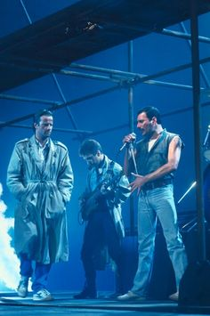 """John Deacon and Freddie Mercury with Christopher Lambert in """"Princes Of The Universe"""", 1986"""