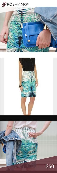🦋KM Bold Mirror Print Pencil Skirt🦋 Gorgeous print and color!! A must-have for this Spring❤️ It has a striking combination of a vibrant mirror print on a signature sexy pencil skirt. Beautiful!!! I bought this here on Posh but it doesn't fit right, too tight. Skirt says size 2, but I believe it was altered for a size 0. The skirt has no defects, seems brand new. Lining is a bit wrinkled (not skirt), it can be steamed. Karen Millen Skirts Pencil