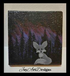 Baby Fox Husky Dog Canvas Magnet Aurora Borealis by JOYsARTDESIGNS