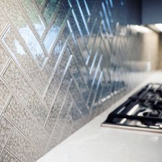 Crushed glass tile backsplash