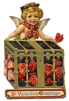 Vintage Valentine Image - Cupid Postman from Graphics Fairy! My Funny Valentine, Happy Valentines Day Gif, Valentines Day History, Valentine Cupid, Valentine Images, Valentines Greetings, Vintage Valentine Cards, Vintage Greeting Cards, Valentine Day Cards