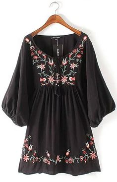 Bohemian Floral Embroidery Dress – Trendy Road