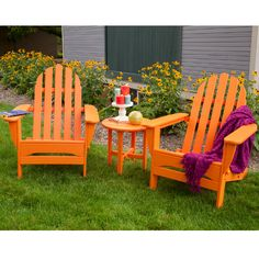 PolyWood delivers with its popular Adirondack chair! A classic beach/poolside seating option, Adirondack chairs encourage lounging with its low to ground seating and angled back.