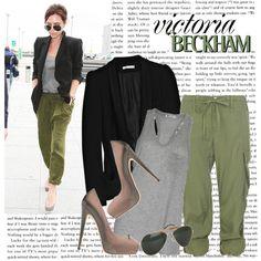 black blazer + army green silky pants + gray tank + heels