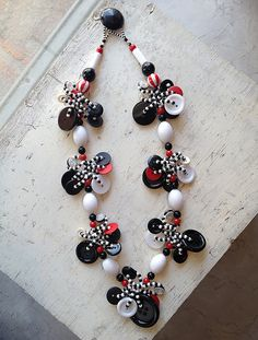 Black White & Red Button Necklace 27 by lorikirsch on Etsy