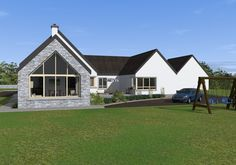 This dual aspect design incorporates the clients wishes for a split level dwelling that includes a functional courtyard while maintaining traditional form on the elevations facing the public roads. Modern Bungalow Exterior, Modern Bungalow House, Dream House Exterior, Exterior Houses, Bungalow Floor Plans, Bungalow Renovation, Bungalow Ideas, House Designs Ireland, Single Storey House Plans
