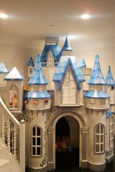 This big indoor playhouse, the Wizard of Oz Castle, is meant for spaces with lots of kids playing at once. Includes slide, staircase, and hand painting. Kids Indoor Playhouse, Outside Playhouse, Build A Playhouse, Backyard Playhouse, Girl Bedroom Designs, Kids Bedroom, Room Kids, Castle Playhouse, Princess Bedrooms