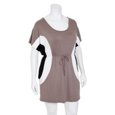 Plus size Color Block Tunic Dress with Pockets    Price:	$28.00