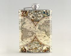 Old Map with Figures Liquor Hip Flask Tipsy Flask by kanlaya3225