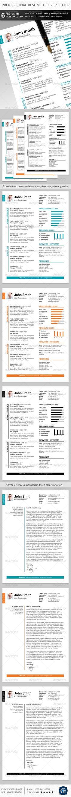 Interests On Resume Sale Instant Download  Resume Design Template  Microsoft Word .