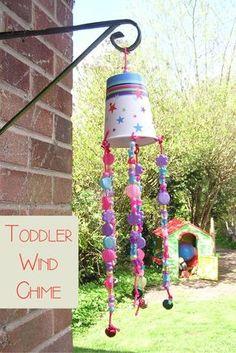 Paper cup, beads, and bells windchimes. Kindergarten.