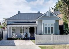 Harkaway Homes - Classic Victorian and Federation Verandah Homes - Gabled Victorian - Pavilion and Homesteads Australia's leading Reproduction Home specialists Gray House Exterior, House Front, House Exterior, Hamptons House, Exterior Design, Beach House Exterior, Weatherboard House, Australian Homes, Edwardian House