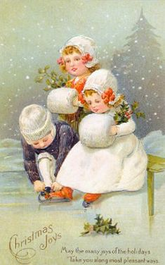 Shop Christmas Greetings Ice Skating Kids Holiday Card created by Vintagecards.
