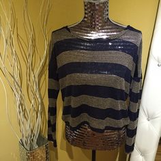 Long Sleeve, Striped Shirt Forever 21, striped cream and navy sweater shirt. Slightly see through. Meant to be worn loose. Has two thread pulls but can be easily fixed! Smoke free/pet free house! Forever 21 Tops