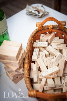 "Jenga pieces as a wedding ""guest book"". Sooo cute! then every time you play you get to relive the day :)"