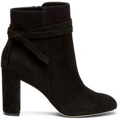 Sole Society Flynn Wrap Around Bootie ($110) ❤ liked on Polyvore featuring shoes, boots, ankle booties, black, suede ankle booties, suede ankle boots, ankle boots, black bootie boots and black suede boots