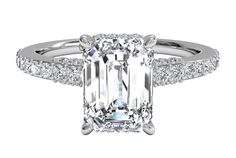 Emerald Cut Diamond set in French-Set Diamond Band Engagement Ring in Platinum, by Ritani