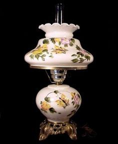 Beautiful! Milk Glass Electric Student Desk or Table Lamp. Decorated with Hand Painted Enameled Butterfly Floral.