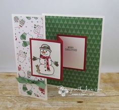 Enjoy this fun fold on this card using the Seasonal Chums stamp set. I cut the stamp set apart to easily stamp this image. Coloured with aquapinters and inkpads.