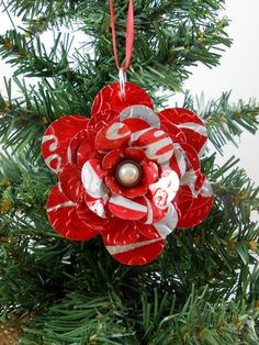 Flower Christmas Ornament. Recycled Soda Pop Can Art. by jillmccp