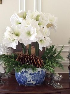 beautiful floral arrangement of white amaryllis in a blue and white jardinere with greenery and pine cones - perfect for Christmas Christmas Arrangements, Christmas Centerpieces, Floral Centerpieces, Xmas Decorations, Floral Arrangements, Christmas Flowers, Noel Christmas, White Christmas, Christmas Mantles