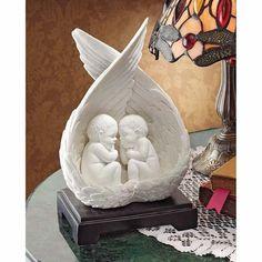 Slumbering Cherubs In Angel Wings Statue