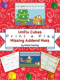 FREE Christmas Unifix Cubes Print & Play Missing Addend Mats