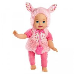 The Little Mommy Dress Up Cuties Fluffy Bunny is a new 13-inch first baby doll dressed in a sewn-on cuddly, soft bunny onesie.