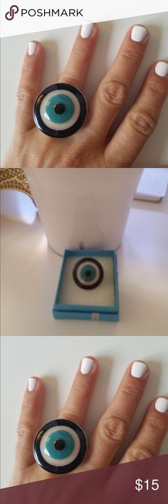 """"""" Greek eye"""" evil eye ring Oversized """" Greek eye"""" imported- fun and exotic piece - said to clear the wearer of bad energy and jealousies - size 7/8- really one of a kind, from Brasil Jewelry Rings"""