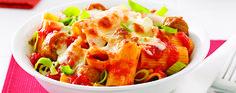 Rigatonis à la saucisse italienne et poireaux - Complètement poireau Rigatoni Recipes, Pasta Recipes, How To Cook Sausage, How To Cook Pasta, Baguette Bread, Pasta Al Dente, Tomato Pesto, Sauce Tomate, Dried Tomatoes