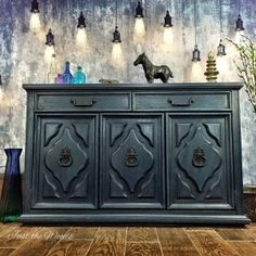 Hand painted midnight blue vintage buffet #justthewoods