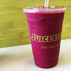 Heart healthy Raw smoothie from Juice It Up! Raw Juice Bar called the Red Fusion. A blend of beet, pineapple, red grapes, strawberries, cucumber, and banana.