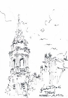 Toruń,Poland 2016 old town ,drawing by andrew ludew