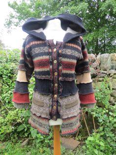 Upcycled Hooded Jacket, Cardigan, Recycled Vintage Wool Knitwear in Earthy tones, rust, black, green. Long Pixie Hood. OOAK Handmade in UK.
