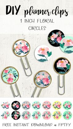 DIY Planner Clips: Watercolor Peonies! - Free Pretty Things For You