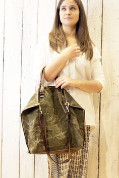 MINI ALLEGRA BAG Handmade vintage military canvas & Leather Shopping bag\tote di LaSellerieLimited su Etsy