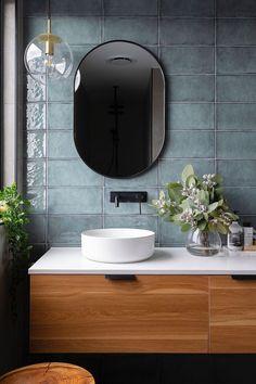 One Room Challenge Week 1 :: Half Bathroom Plans - Salle de Bains 02 Diy Bathroom, Interior, Modern Bathroom, Bathroom Plans, Green Tile, Luxury Bathroom, Bathroom Design, Bathroom Decor, Tile Bathroom