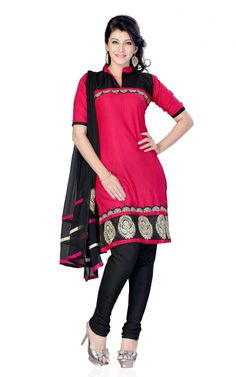 PINK & BLACK COTTON SALWAR KAMEEZ - DF 99