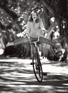 Pedal Pusher - Hemingway was fond of saying that the best way to discover a place was by bike. His great-granddaughter seems to agree. Jonathan Saunders sweater, $888; Neapolitan Collection, Winnetka, IL. Dior silk pants, $2,100; Dior boutiques. Céline sandals.